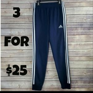 Adidas Boys Blue White Stripes Jogging Pants M